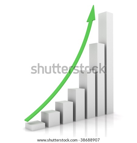 Business bar chart with arrow pointing up - stock photo