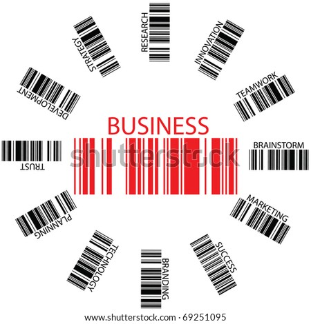 business bar codes against white background, abstract art illustration - stock photo
