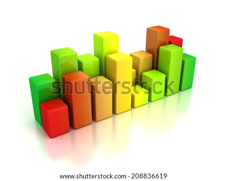 business bar graph diagram red green. 3d render illustration