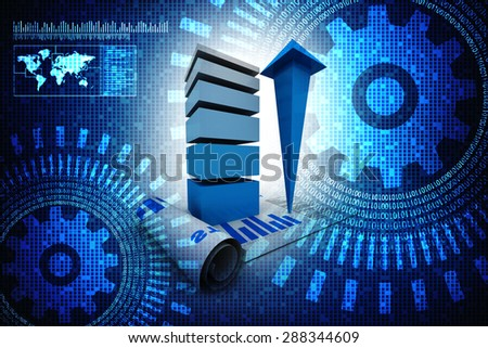 business bar graph diagram with rising arrow - stock photo