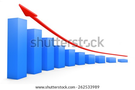Business bar graph growing isolated on white with clipping path - stock photo