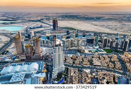 Business Bay district as seen from Burj Dubai  - stock photo