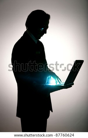 business be aware of hacking and crime - stock photo