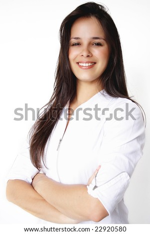 Business beautiful girl smiling. - stock photo