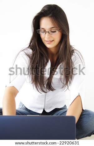Business Beautiful Girl working on laptop. - stock photo