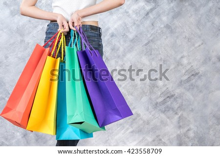Business, beautiful woman with shopping bags, sale and business concept, soft focus - stock photo
