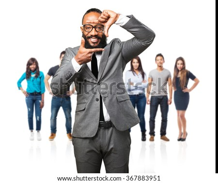 business black man doing a frame gesture