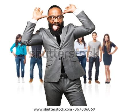 business black man joking - stock photo
