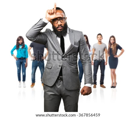 business black man looser gesture