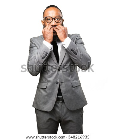 business black man nervous - stock photo