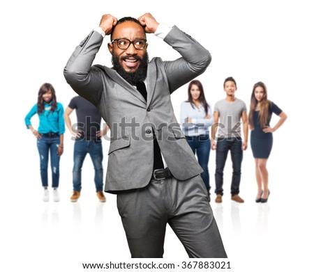 business black man nervous - stock photo