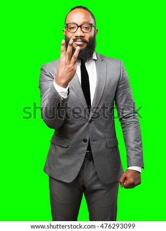 business black man number three sign