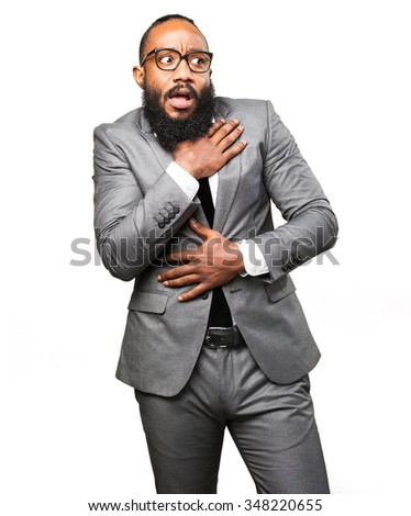 business black man scared - stock photo