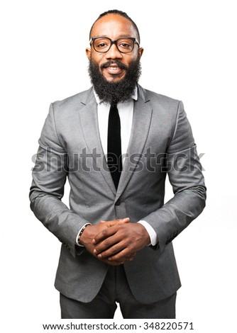 business black man smiling - stock photo