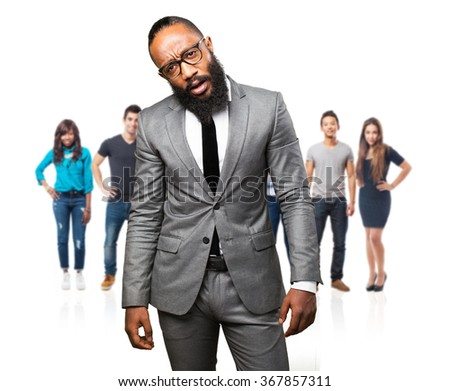 business black man tired - stock photo