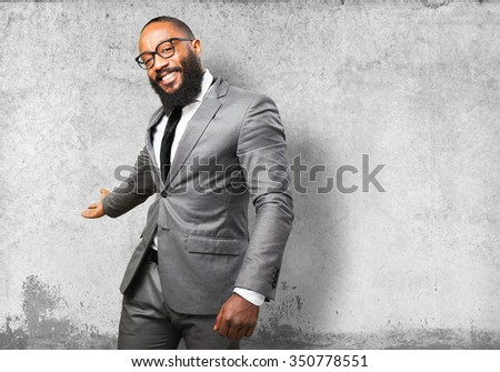 business black man welcome gesture - stock photo