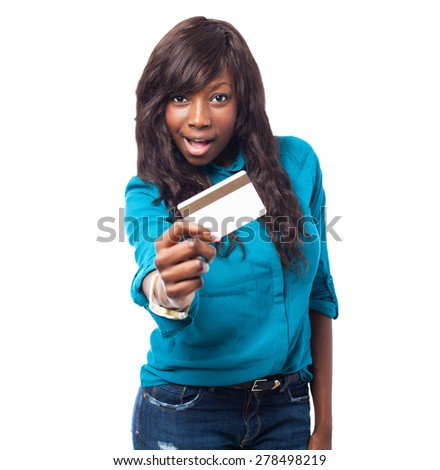 business black woman holding a credit card - stock photo