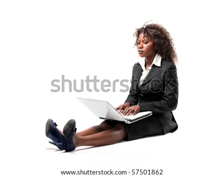 business black woman with laptop - stock photo