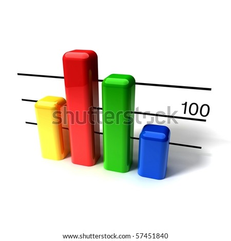 business block graph on white background - stock photo