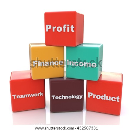 Business Blocks in the design of information related to business development strategy. 3d illustration - stock photo