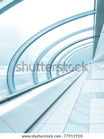 Business blue corridor in office center - stock photo