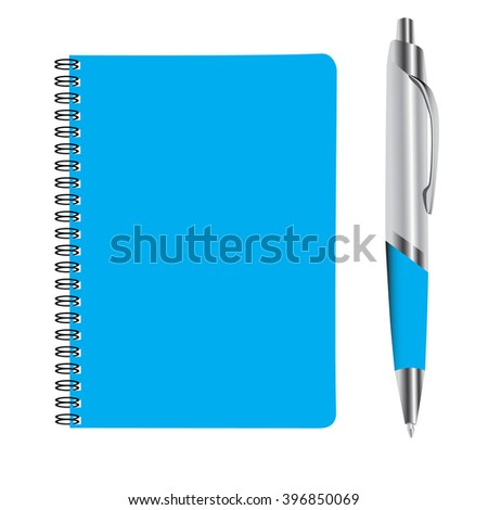 business blue note book and pan set raster illustration