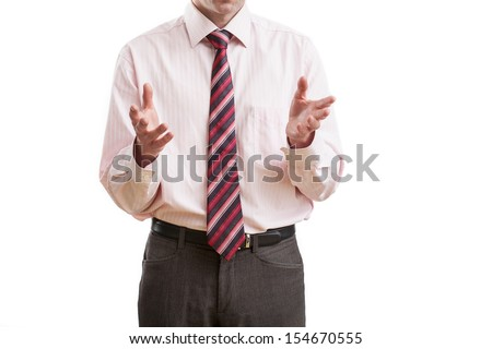 Business body language during speech, isolated - stock photo