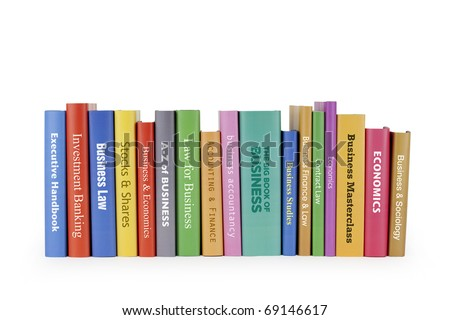 Business books on white - stock photo