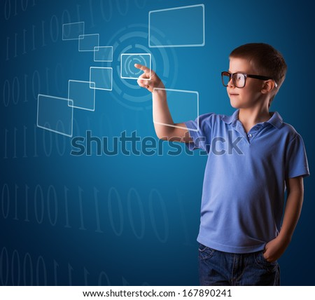 business boy is pressing digital button - stock photo