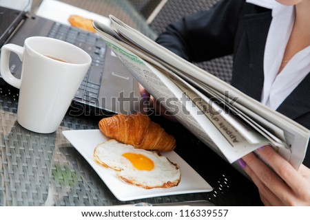 Business breakfast in the cafe