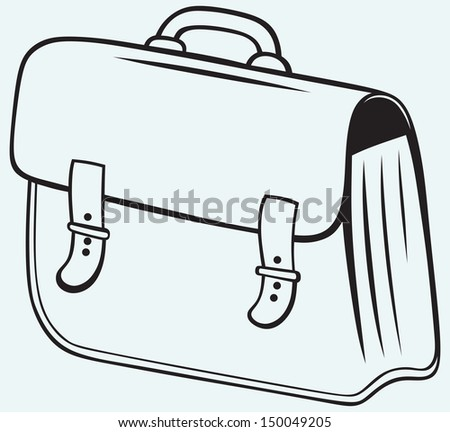 Business briefcase isolated on blue background. Raster version