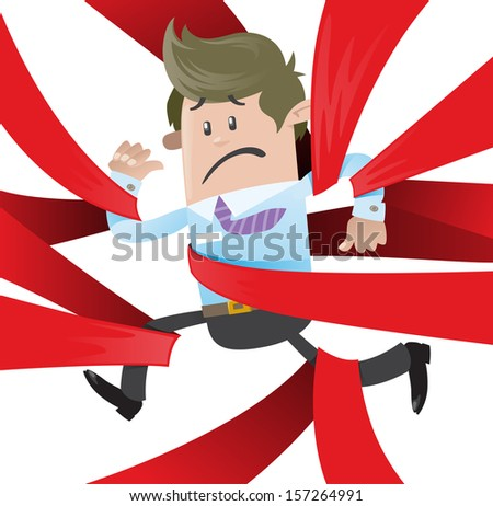 Business Buddy is caught up in Red Tape. Fantastic illustration of Business Buddy clearly very distressed with the bureaucratic red tape that he's got caught up in.   - stock photo
