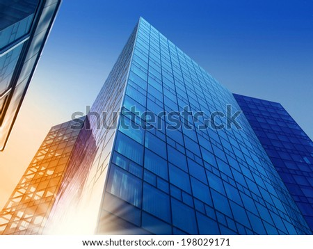 Business building in the evening light - stock photo