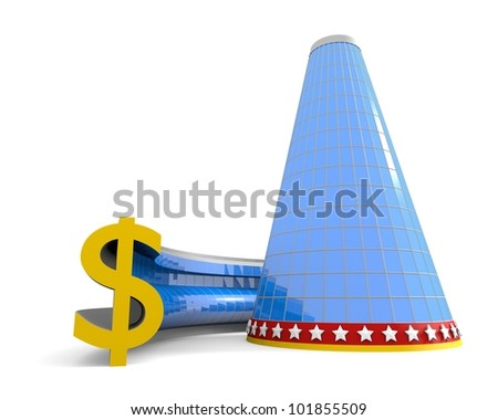 Business building with dollar symbol - stock photo