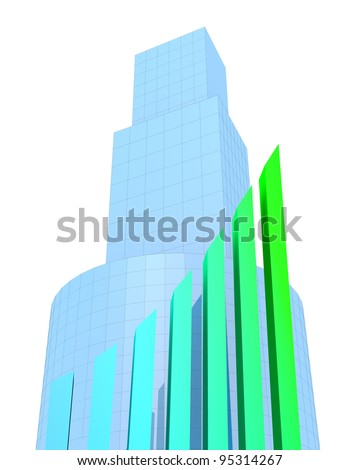 Business Buildings and arrow chart - stock photo