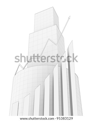 Business Buildings and arrow chart. Sketch.