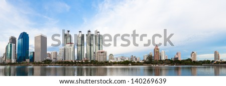 business buildings area and office, cityscape panorama - stock photo