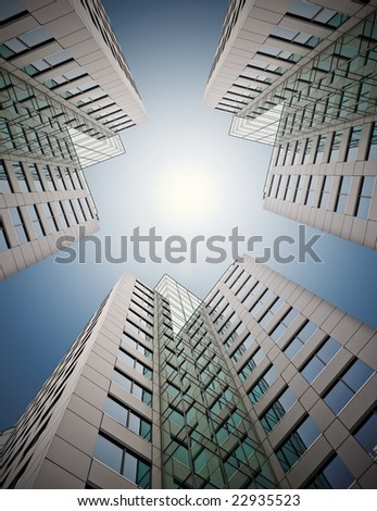 business buildings at midday - stock photo