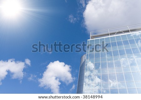 Business buildings on a background blue sky
