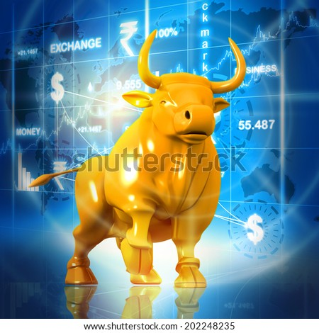 Business bull in abstract background - stock photo