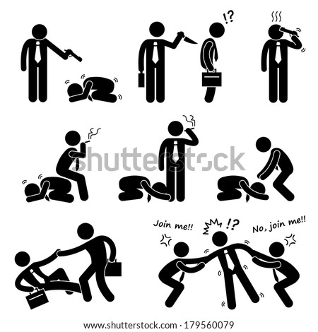 Business Bullying Backstab Competition Stick Figure Pictogram Icon - stock photo
