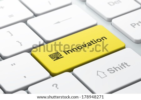 Business business concept: computer keyboard with Computer Pc icon and word Innovation, selected focus on enter button, 3d render - stock photo