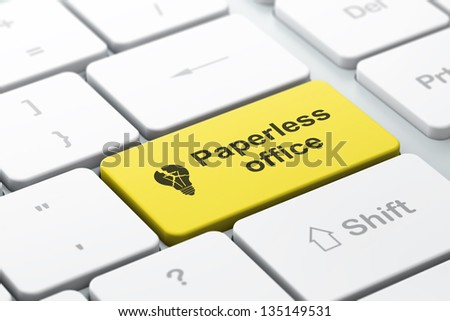 Business business concept: computer keyboard with Light Bulb icon and word Paperless Office, selected focus on enter button, 3d render - stock photo