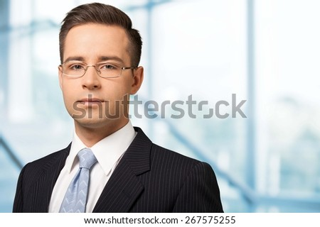 Business. Businessman in front of his office - stock photo