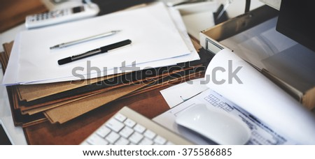 Business Busy Workplace Desk Objects Concept