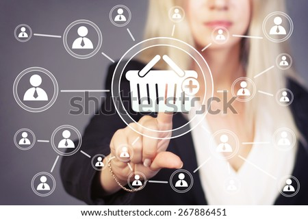 Business button basket trolley shopping web icon - stock photo