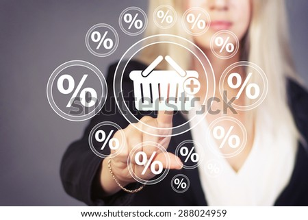 Business button basket trolley shopping web percent icon - stock photo