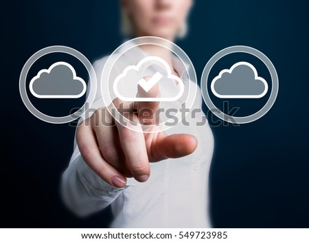 Business button cloud social network type