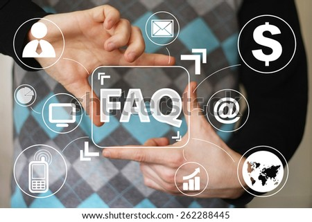 Business button FAQ connection communication virtual - stock photo