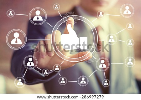 Business button like online icon web sign - stock photo